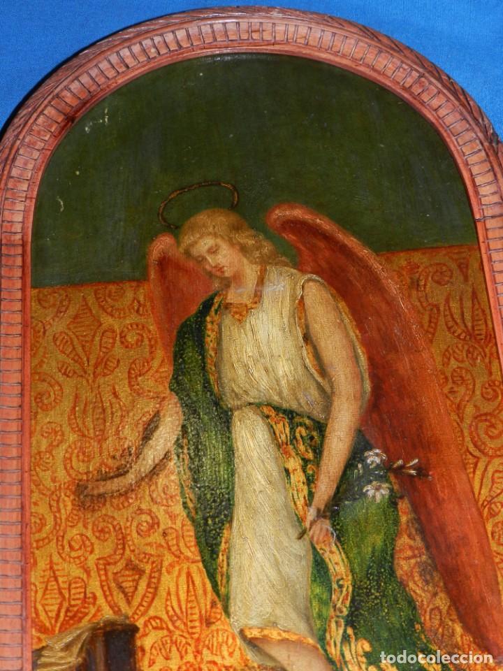 Arte: (M) PINTURA ANGEL SAN GABRIEL - OLEO SOBRE TABLA FINALES S.XIX SIN FIRMAR , ENMARCADO - Foto 3 - 132574158