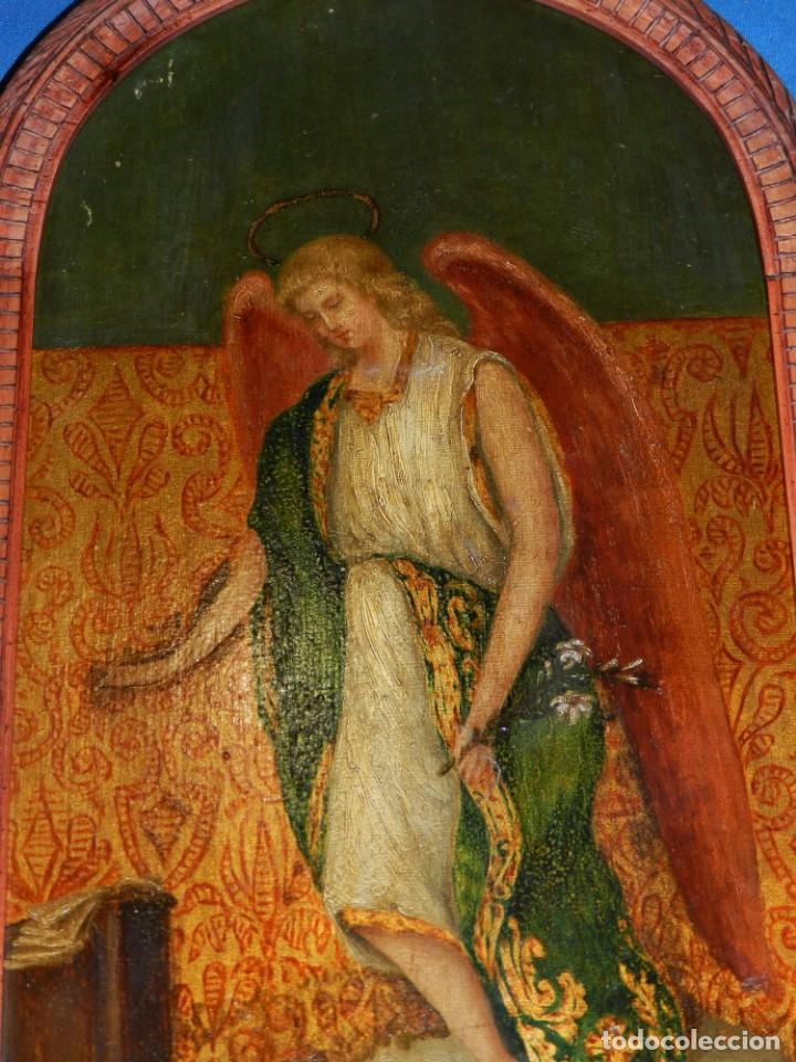 Arte: (M) PINTURA ANGEL SAN GABRIEL - OLEO SOBRE TABLA FINALES S.XIX SIN FIRMAR , ENMARCADO - Foto 4 - 132574158