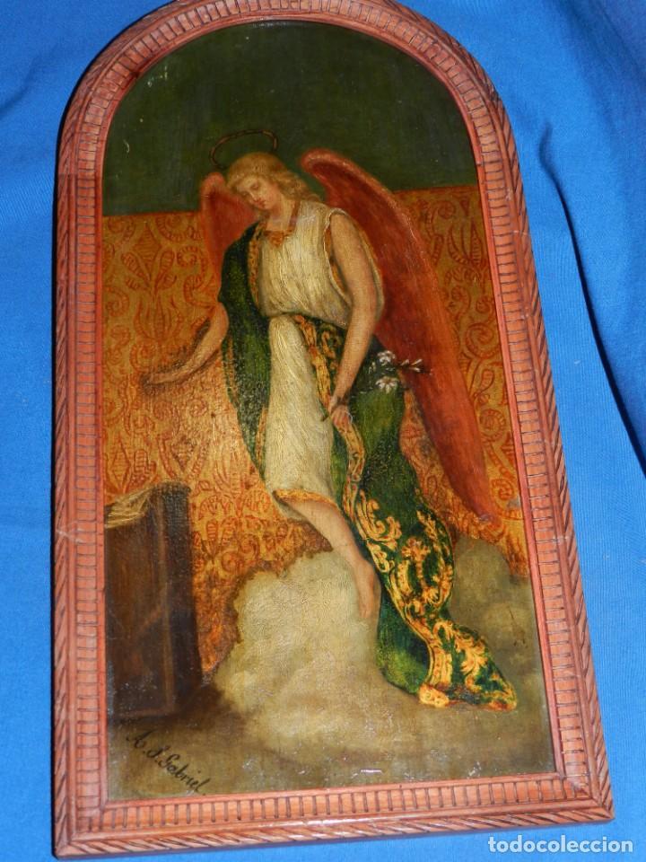 Arte: (M) PINTURA ANGEL SAN GABRIEL - OLEO SOBRE TABLA FINALES S.XIX SIN FIRMAR , ENMARCADO - Foto 5 - 132574158