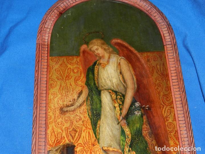 Arte: (M) PINTURA ANGEL SAN GABRIEL - OLEO SOBRE TABLA FINALES S.XIX SIN FIRMAR , ENMARCADO - Foto 7 - 132574158