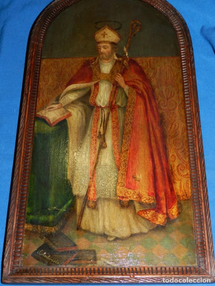 (M) PINTURA SAN AMBROSIO - OLEO SOBRE TABLA FINALES S.XIX SIN FIRMAR , ENMARCADO (Arte - Arte Religioso - Pintura Religiosa - Otros)