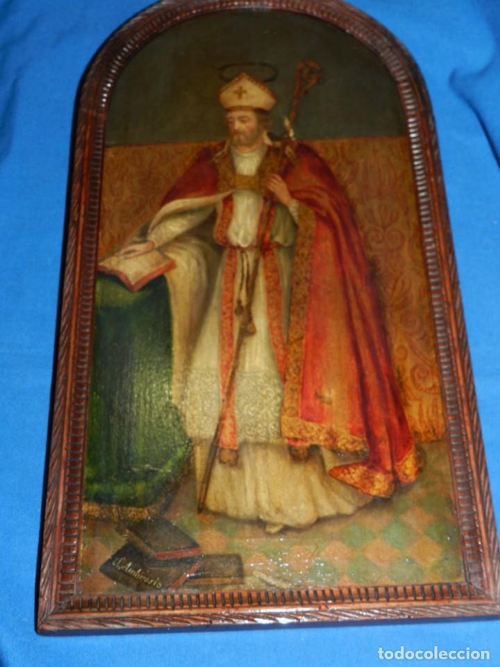 Arte: (M) PINTURA SAN AMBROSIO - OLEO SOBRE TABLA FINALES S.XIX SIN FIRMAR , ENMARCADO - Foto 5 - 132574282