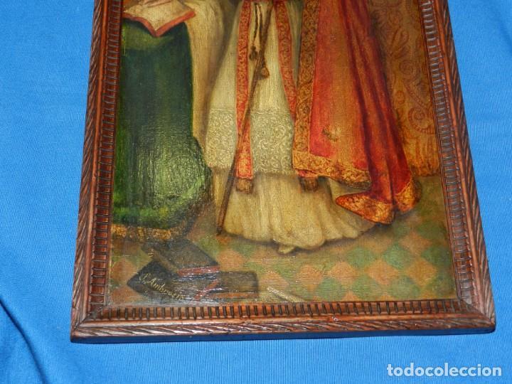 Arte: (M) PINTURA SAN AMBROSIO - OLEO SOBRE TABLA FINALES S.XIX SIN FIRMAR , ENMARCADO - Foto 9 - 132574282