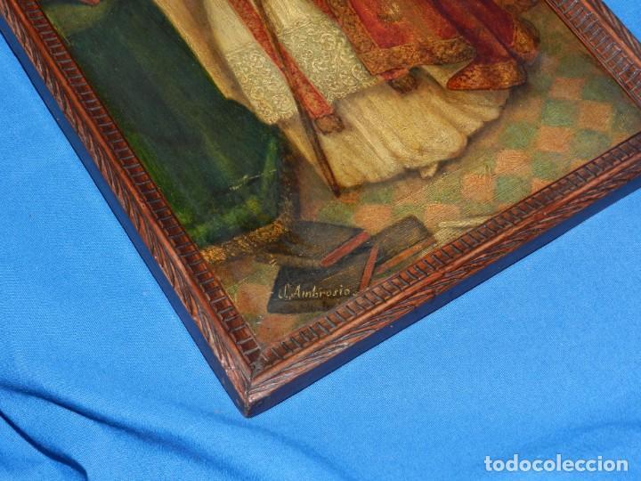 Arte: (M) PINTURA SAN AMBROSIO - OLEO SOBRE TABLA FINALES S.XIX SIN FIRMAR , ENMARCADO - Foto 10 - 132574282