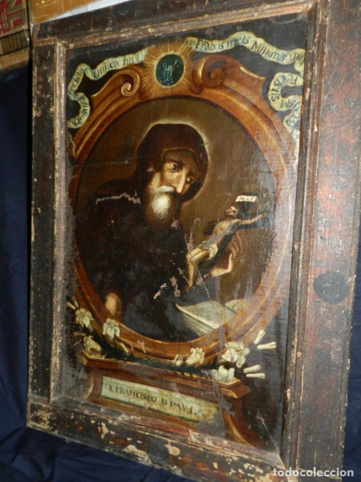 (M) OLEA S.XVII SAN FRANCISCO DE PAULA CON MARCO DE EPOCA CON DIBUJOS , 85 X 65 CM, SEÑALES DE USO (Arte - Arte Religioso - Pintura Religiosa - Oleo)