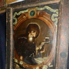 Arte: (M) OLEA S.XVII SAN FRANCISCO DE PAULA CON MARCO DE EPOCA CON DIBUJOS , 85 X 65 CM, SEÑALES DE USO. Lote 132593954