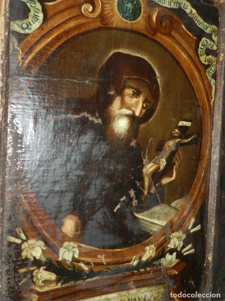 Arte: (M) OLEA S.XVII SAN FRANCISCO DE PAULA CON MARCO DE EPOCA CON DIBUJOS , 85 X 65 CM, SEÑALES DE USO - Foto 3 - 132593954
