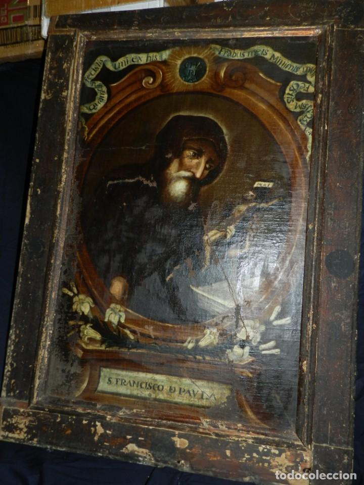 Arte: (M) OLEA S.XVII SAN FRANCISCO DE PAULA CON MARCO DE EPOCA CON DIBUJOS , 85 X 65 CM, SEÑALES DE USO - Foto 4 - 132593954
