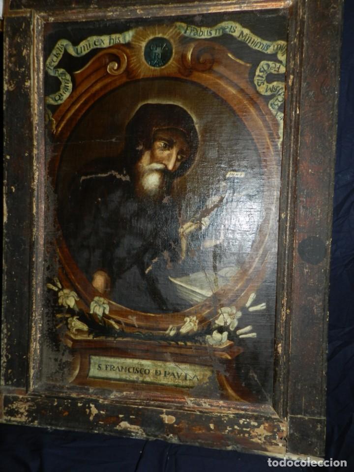 Arte: (M) OLEA S.XVII SAN FRANCISCO DE PAULA CON MARCO DE EPOCA CON DIBUJOS , 85 X 65 CM, SEÑALES DE USO - Foto 5 - 132593954
