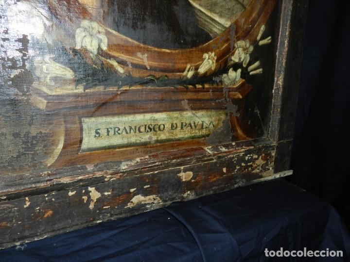 Arte: (M) OLEA S.XVII SAN FRANCISCO DE PAULA CON MARCO DE EPOCA CON DIBUJOS , 85 X 65 CM, SEÑALES DE USO - Foto 6 - 132593954