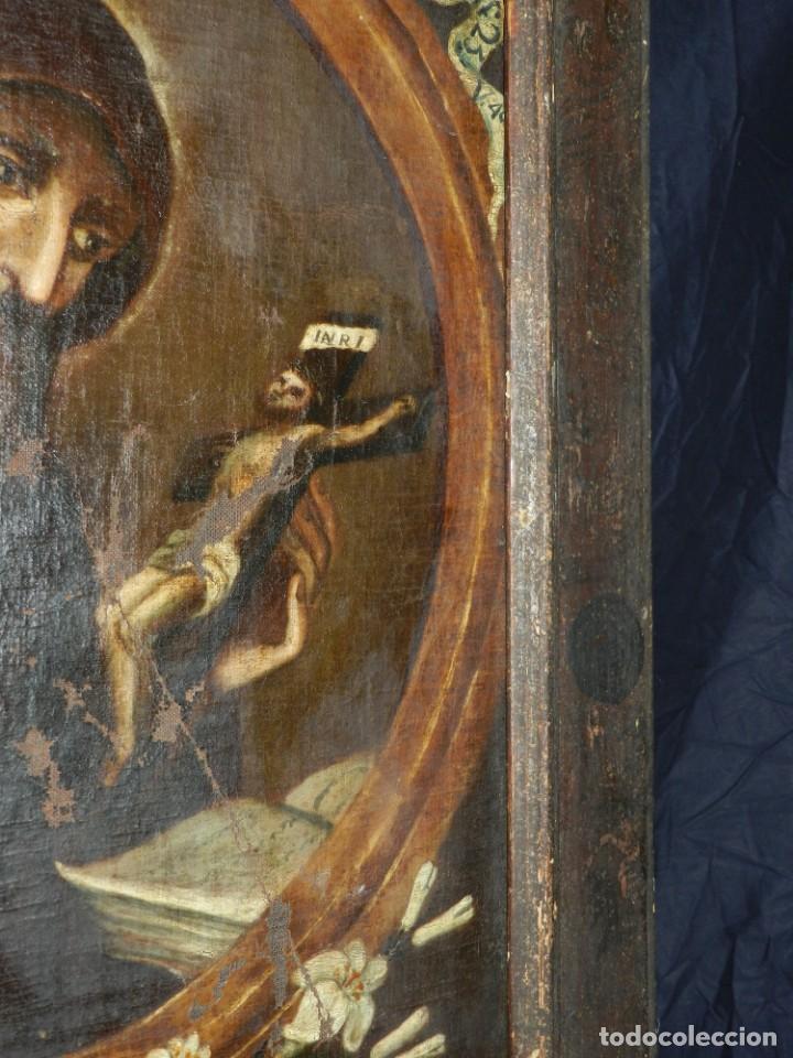 Arte: (M) OLEA S.XVII SAN FRANCISCO DE PAULA CON MARCO DE EPOCA CON DIBUJOS , 85 X 65 CM, SEÑALES DE USO - Foto 12 - 132593954