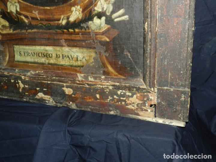 Arte: (M) OLEA S.XVII SAN FRANCISCO DE PAULA CON MARCO DE EPOCA CON DIBUJOS , 85 X 65 CM, SEÑALES DE USO - Foto 19 - 132593954