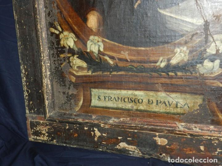 Arte: (M) OLEA S.XVII SAN FRANCISCO DE PAULA CON MARCO DE EPOCA CON DIBUJOS , 85 X 65 CM, SEÑALES DE USO - Foto 20 - 132593954
