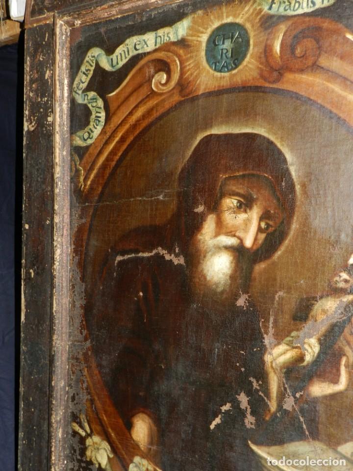 Arte: (M) OLEA S.XVII SAN FRANCISCO DE PAULA CON MARCO DE EPOCA CON DIBUJOS , 85 X 65 CM, SEÑALES DE USO - Foto 22 - 132593954