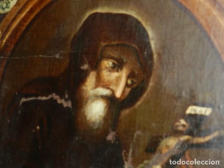 Arte: (M) OLEA S.XVII SAN FRANCISCO DE PAULA CON MARCO DE EPOCA CON DIBUJOS , 85 X 65 CM, SEÑALES DE USO - Foto 23 - 132593954