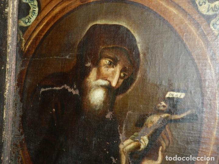 Arte: (M) OLEA S.XVII SAN FRANCISCO DE PAULA CON MARCO DE EPOCA CON DIBUJOS , 85 X 65 CM, SEÑALES DE USO - Foto 24 - 132593954
