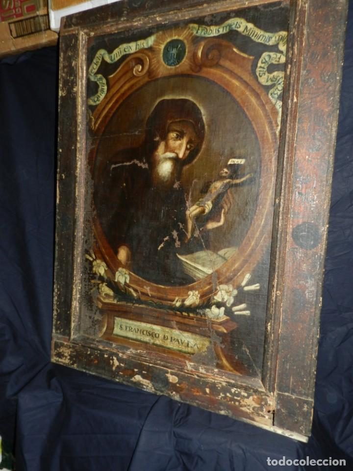 Arte: (M) OLEA S.XVII SAN FRANCISCO DE PAULA CON MARCO DE EPOCA CON DIBUJOS , 85 X 65 CM, SEÑALES DE USO - Foto 25 - 132593954