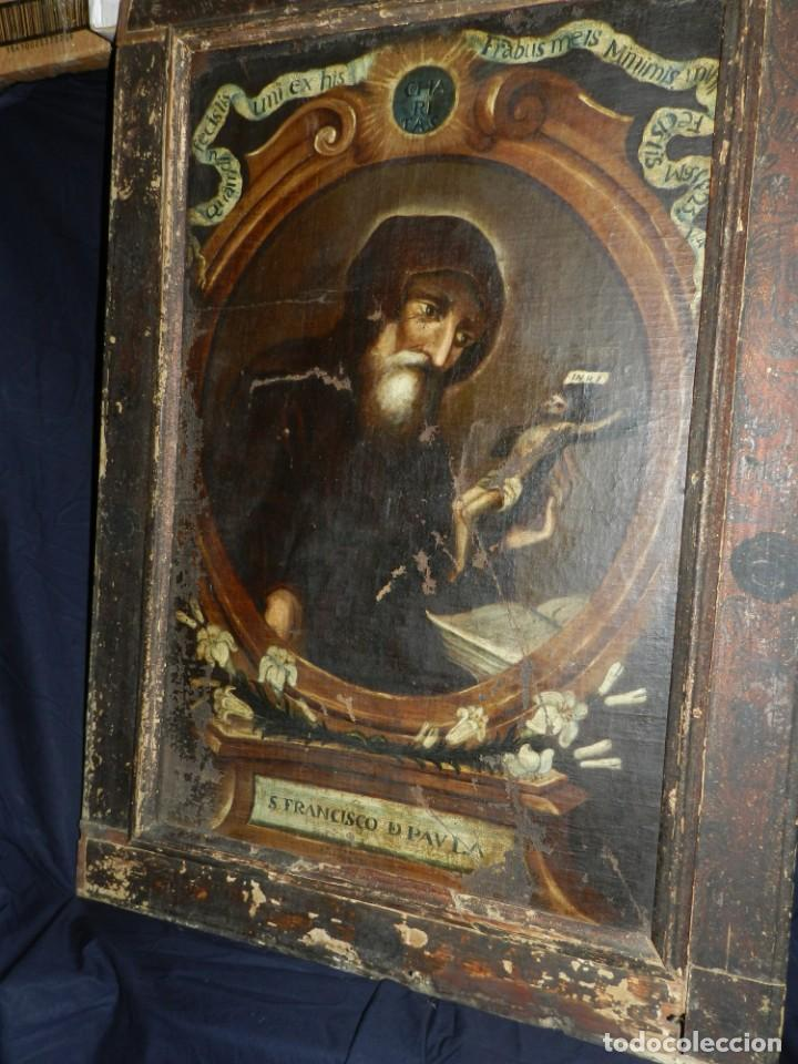 Arte: (M) OLEA S.XVII SAN FRANCISCO DE PAULA CON MARCO DE EPOCA CON DIBUJOS , 85 X 65 CM, SEÑALES DE USO - Foto 27 - 132593954