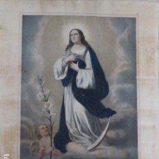 Arte: LITOGRAFIA INMACULADA CONCEPCION ILUMINADA A MANO . CASSE FRERES A ST. GAUDENS. Lote 132658014