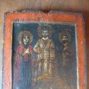 Arte: ICONO DEISIS, CRISTO, SAN JUAN Y LA VIRGEN, S. XVIII GRIEGO 31 X 26'5 X 2'5 CM. Lote 132664430