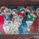 Arte: SANTA CENA DE METAL ESMALTADA FIRMADA NUET MARTÍ SOBRE TABLA DE MADERA. Lote 132714774