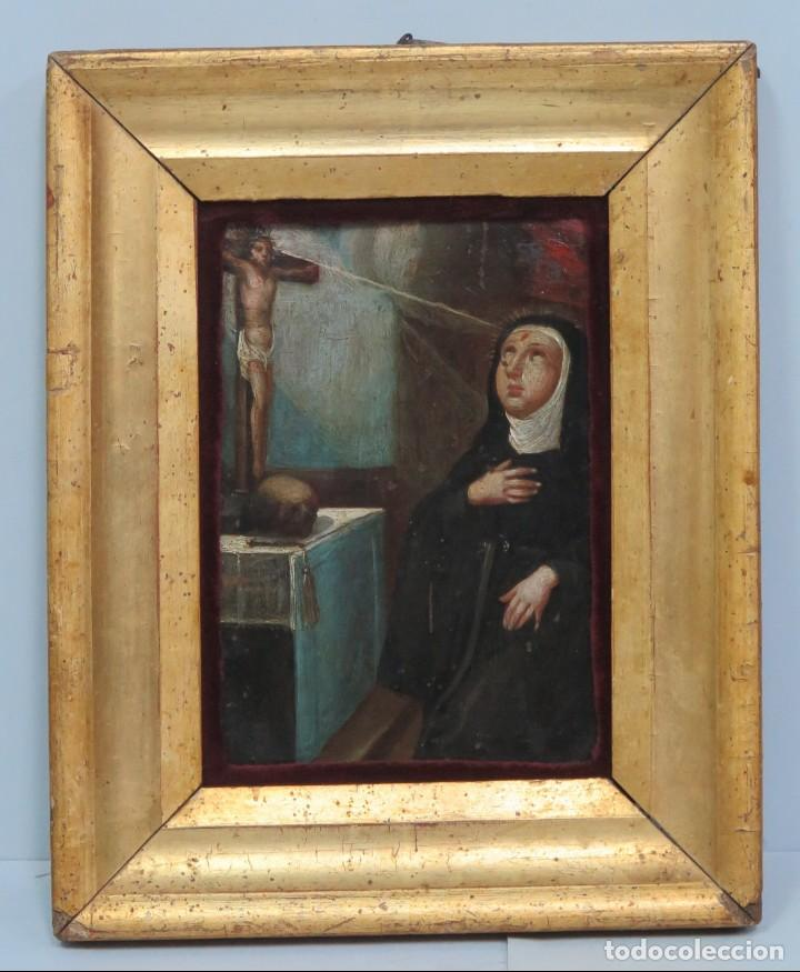 PRECIOSA SANTA RITA. OLEO S/ COBRE. SIGLO XVII (Arte - Arte Religioso - Pintura Religiosa - Oleo)