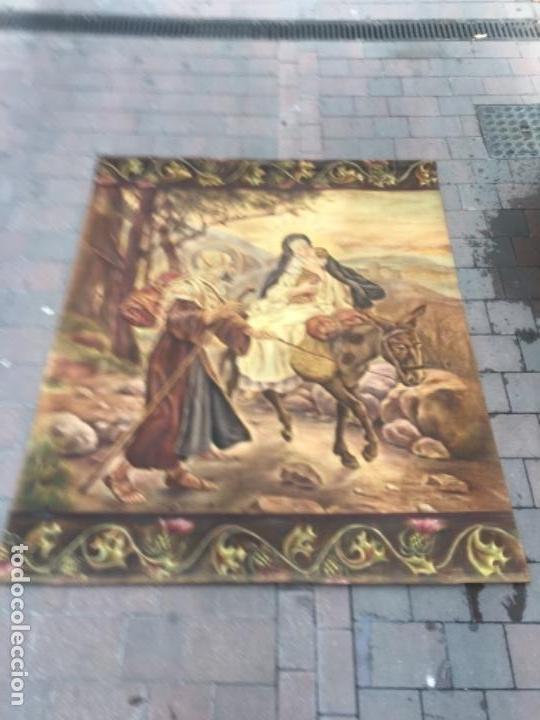 Arte: Tapiz pintado a mano al óleo huida de Egipto - Foto 2 - 132910646