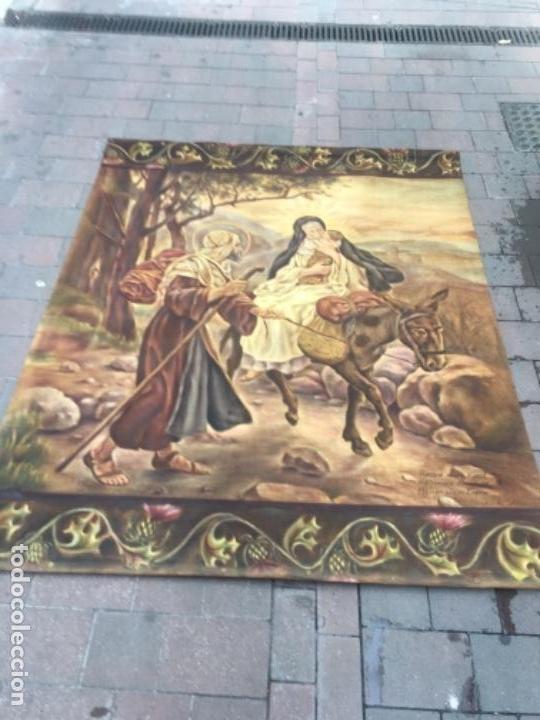 Arte: Tapiz pintado a mano al óleo huida de Egipto - Foto 3 - 132910646