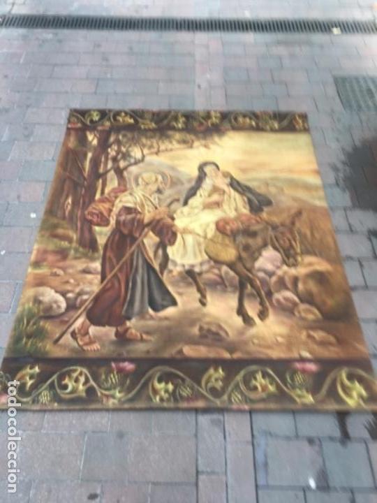 TAPIZ PINTADO A MANO AL ÓLEO HUIDA DE EGIPTO (Arte - Arte Religioso - Pintura Religiosa - Oleo)