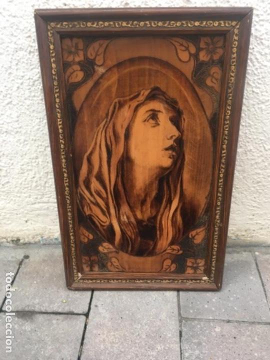 Arte: Dos cuadros religiosos pirograbado sobre madera - Foto 2 - 132917022