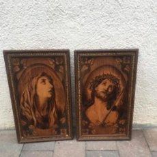 Arte: DOS CUADROS RELIGIOSOS PIROGRABADO SOBRE MADERA . Lote 132917022
