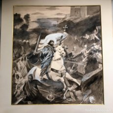 Arte: SANTIAGO APÓSTOL EN LA BATALLA DE CLAVIJO POR LEANDRO GUTIÉRREZ. Lote 132980058