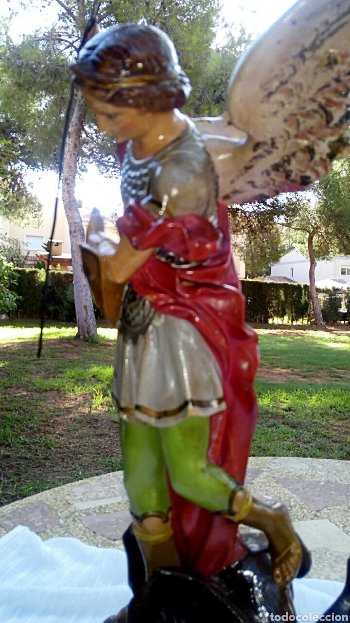 Arte: Arcangel San Miguel. Realizado en pasta de madera. Posiblemente de Olot. Finales del siglo XIX. S - Foto 6 - 132980366