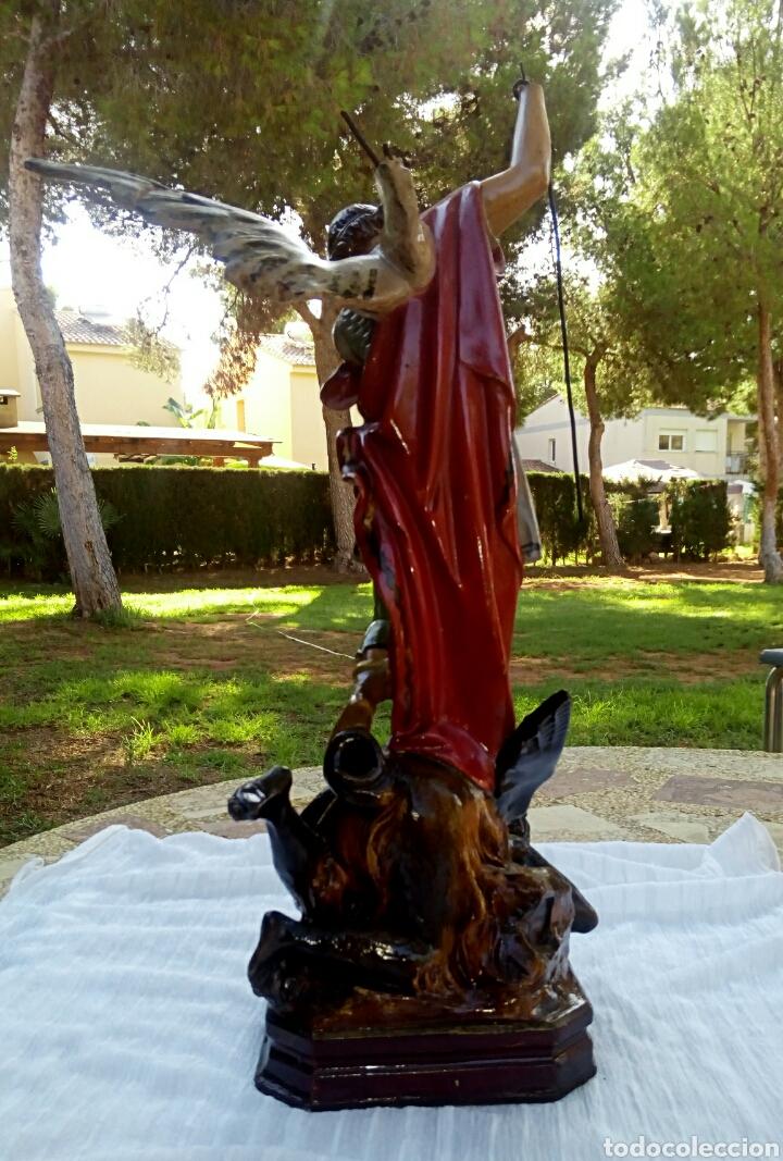 Arte: Arcangel San Miguel. Realizado en pasta de madera. Posiblemente de Olot. Finales del siglo XIX. S - Foto 8 - 132980366