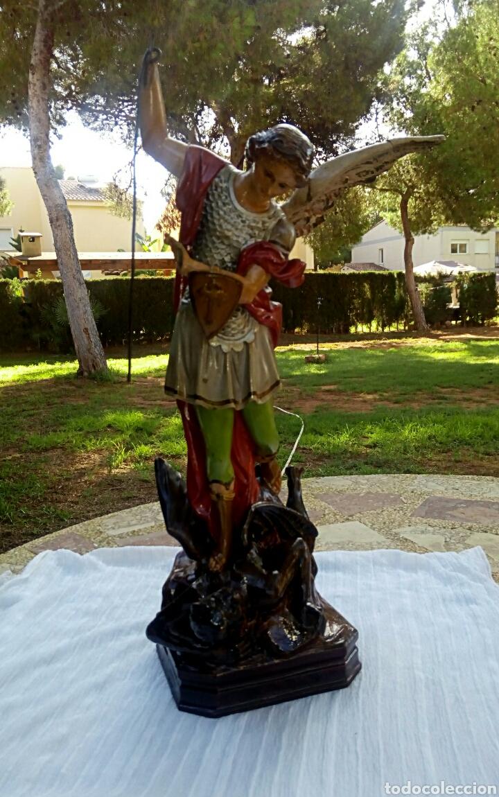 Arte: Arcangel San Miguel. Realizado en pasta de madera. Posiblemente de Olot. Finales del siglo XIX. S - Foto 10 - 132980366