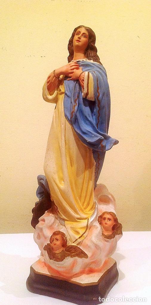 Arte: Virgen De Estuco Inmaculada Con Angeles Ojos De Cristal - Foto 2 - 132980854