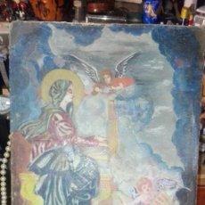 Arte: PINTURA RELIGIOSA SOBRE ESPECIE DE PAPEL EN PARTE Y SOBRE TABLE 31 X 19. Lote 133145802