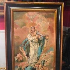 Arte: PRECIOSO OLEO SOBRE TABLA VIRGEN INMACULADA CONCEPCION SIGLO XIX - MEDIDA TOTAL 76X48 CM - RELIGIOSO. Lote 133326126