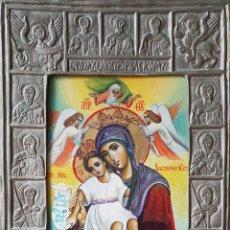 Arte: ICONO RUSO.OLEO/TABLA.VIRGEN CORONADA CON NIÑO.P.SXX.. Lote 133436637