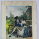 Arte: AFTER PIERRE OUTIN FRANCIA 1840-1899 - GRABADO PINTADO A MANO - L' EPINE - 88X65CMS. Lote 133439894