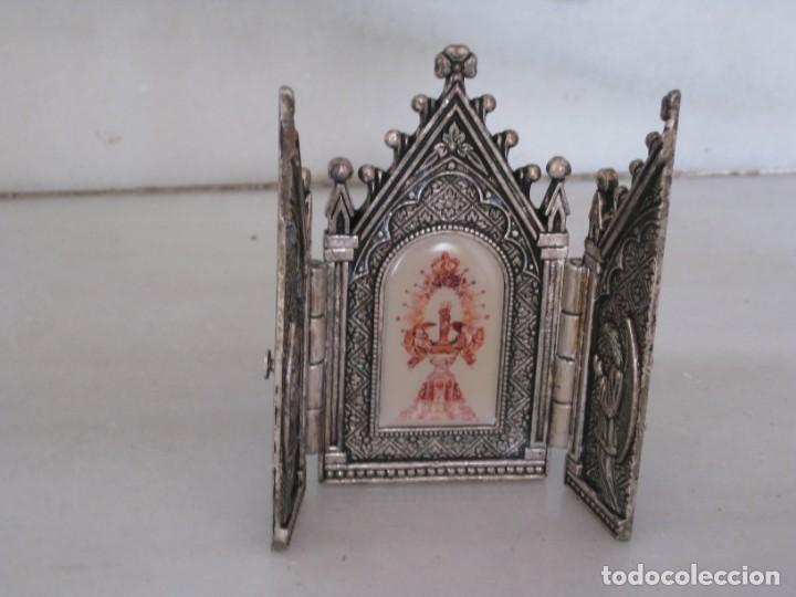 Arte: Capilla metálica tríptico virgen de la fuente. - Foto 2 - 133540582