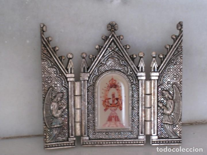 Arte: Capilla metálica tríptico virgen de la fuente. - Foto 4 - 133540582