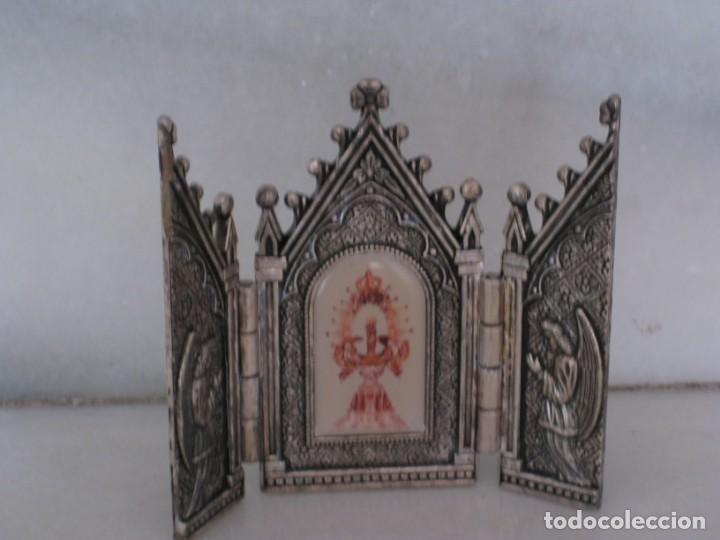 Arte: Capilla metálica tríptico virgen de la fuente. - Foto 5 - 133540582