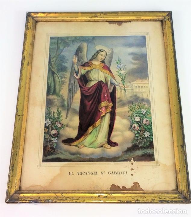 Arte: EL ARCANGEL SAN GABRIEL. GRABADO. COLOREADOA LA ACUARELA. ESPAÑA. SIGLO XIX - Foto 2 - 133548182