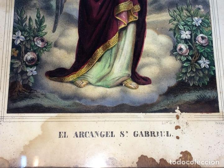 Arte: EL ARCANGEL SAN GABRIEL. GRABADO. COLOREADOA LA ACUARELA. ESPAÑA. SIGLO XIX - Foto 3 - 133548182
