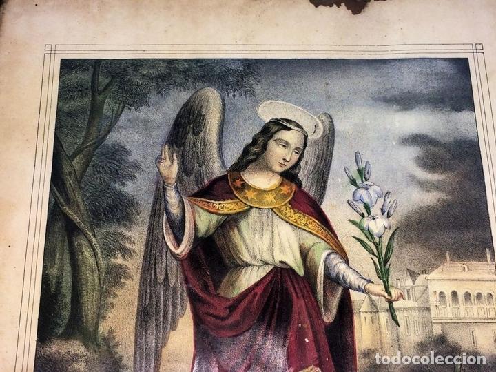 Arte: EL ARCANGEL SAN GABRIEL. GRABADO. COLOREADOA LA ACUARELA. ESPAÑA. SIGLO XIX - Foto 4 - 133548182
