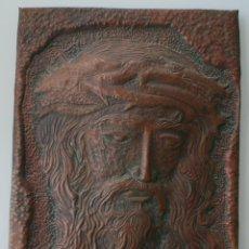 Arte: PRECIOSA PLACA DE COBRE REPUJADO CON EL ROSTRO IMAGEN DE CRISTO EN RELIEVE 34 X 24 CM . Lote 133551138