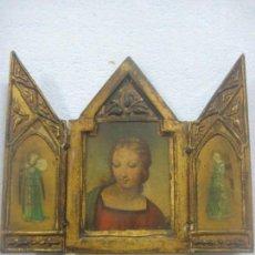 Arte: IMPORTANTE TRIPTICO RELIGIOSO EN ACUARELA DEL SIGLO XVIII EN FORMA DE CAPILLA CON PAN DE ORO, GOTICO. Lote 133553810