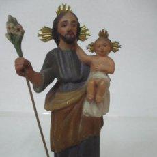 Arte: ANTIGUO SAN JOSÉ CON NIÑO JESÚS - TALLA DE MADERA POLICROMADA - S. XVIII. Lote 133555614