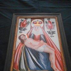 Arte: CUADRO RELIGIOSO PINTADO SOBRE CRISTAL, MIDE 39 X 29 CMS., ICLUIDO EL MARCO. Lote 133652934